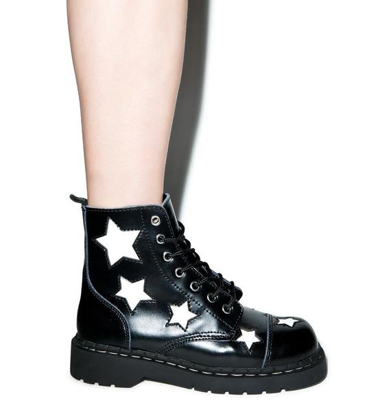 T.U.K. Stars 7 Eye Leather Boots