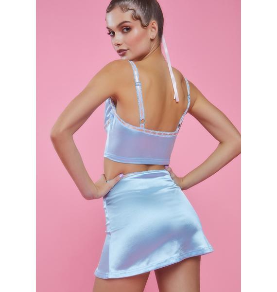 Sugar Thrillz Sweet Silhouette Satin Mini Skirt