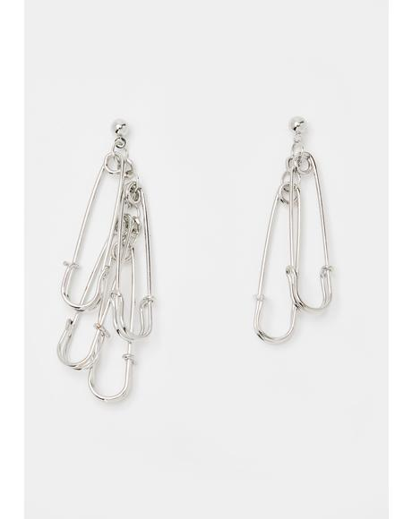 Sin Squad Safety Pin Earrings