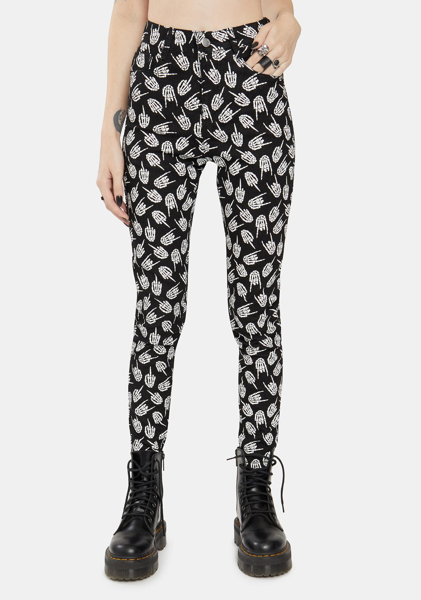 Too Fast Up Yours Skeleton Skinny Jeans