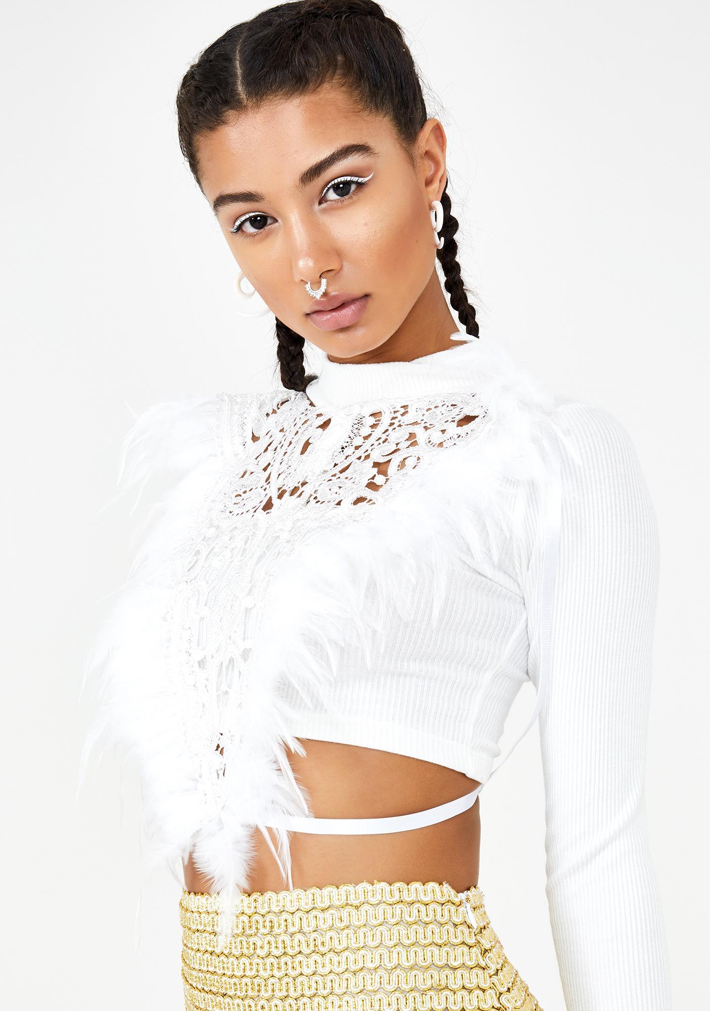 Love Khaos Ivory Gypsy Lace Top