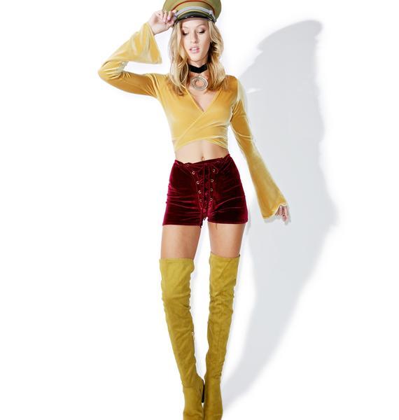 Homecooked Karma Burgundy Velvet Lace-Up Shorts