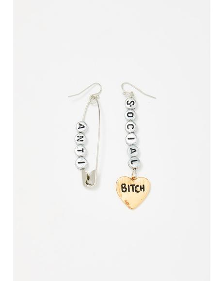 Antisocial Angst Drop Earrings
