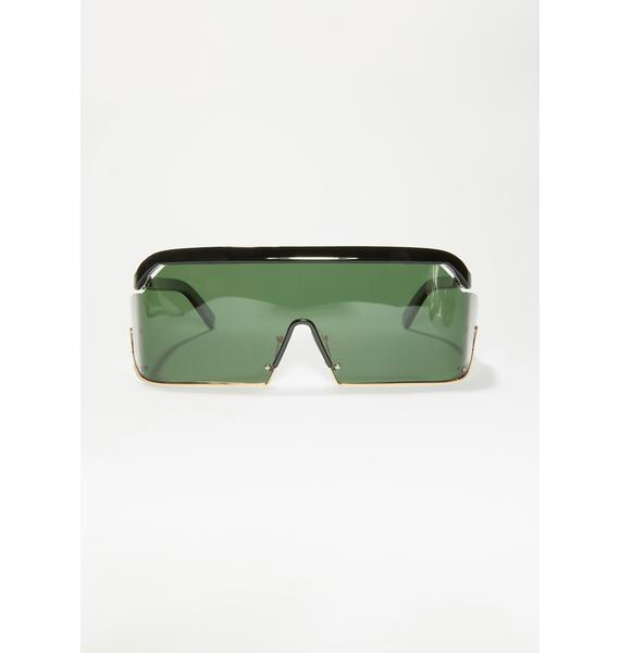 Synth Green Shield Sunglasses