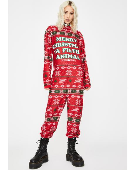 Alone On Christmas Onesie Pajamas