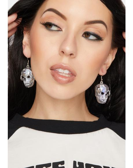 Club Scare Light Up Skeleton Earrings