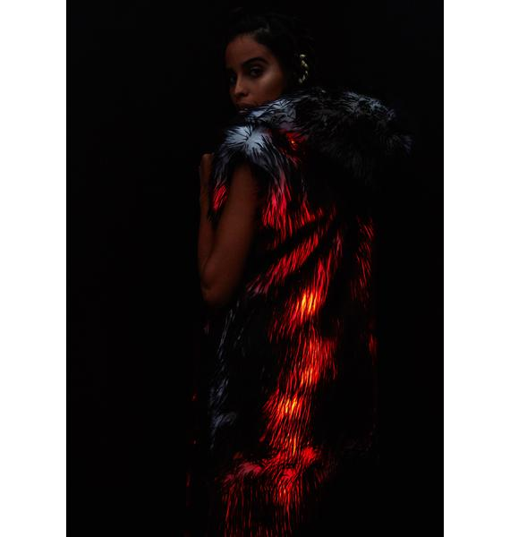 J Valentine Volcanic Light-Up Faux Fur Duster