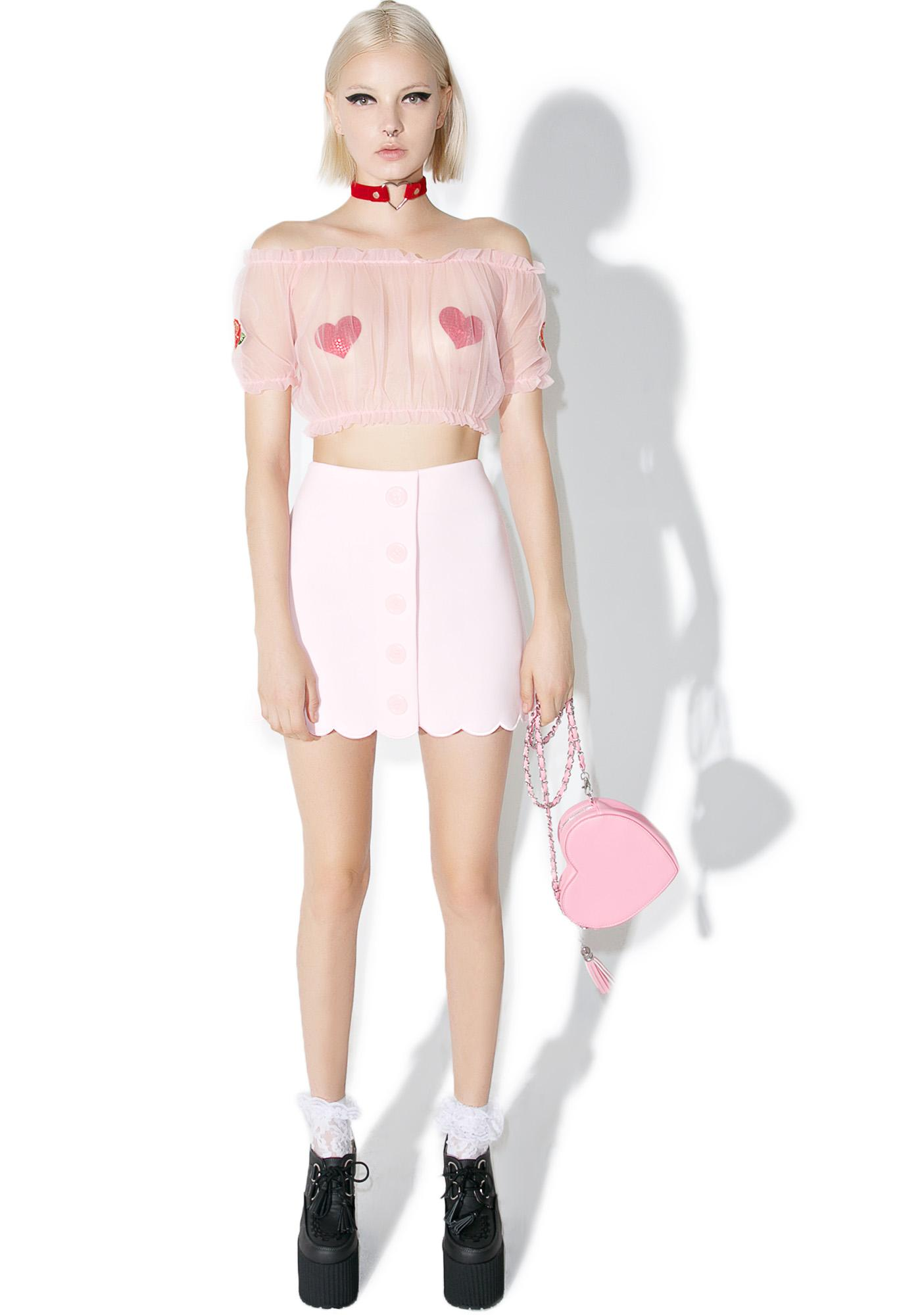 one spo Candy Scalloped Trapezoid Skirt