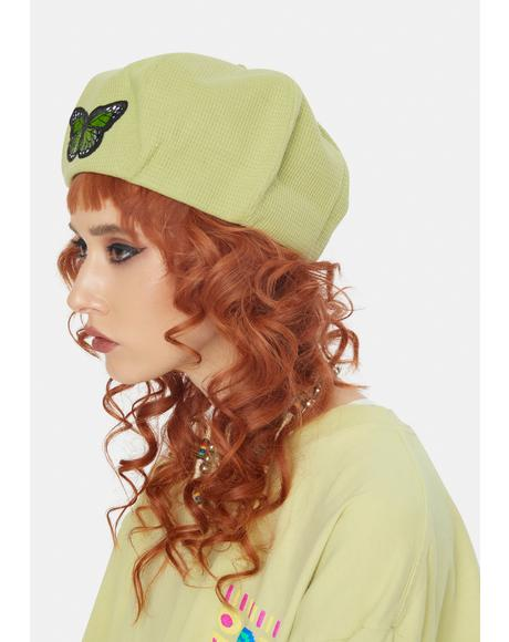 Lime A Lil Flighty Embroidered Beret