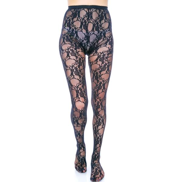 Fancy Floral Lace Pantyhose