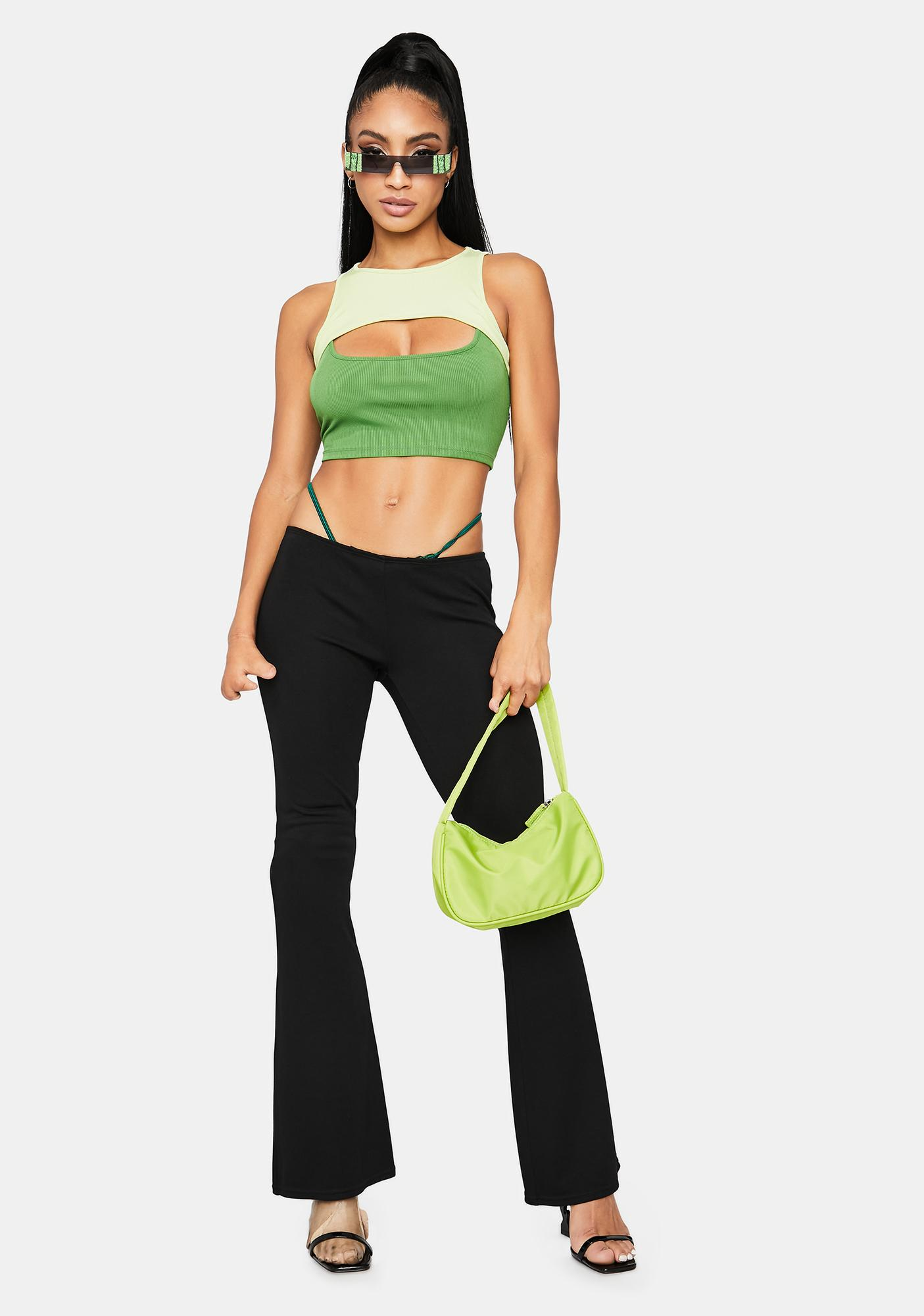 Lush Double The Trouble Two Tone Cutout Crop Top