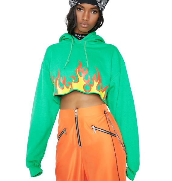 Petals and Peacocks Lima Flaming Rose Crop Hoodie