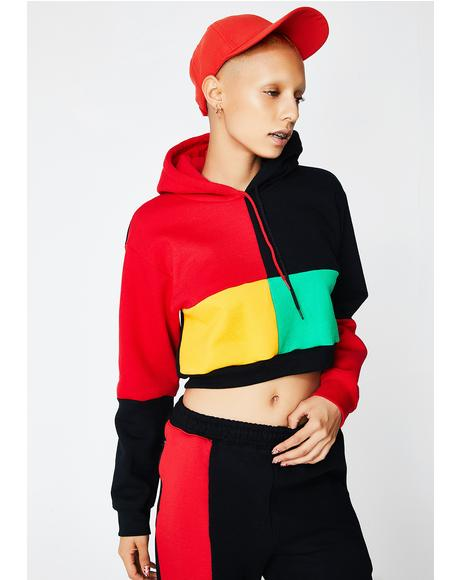 Color Block Pullover Crop Hoodie