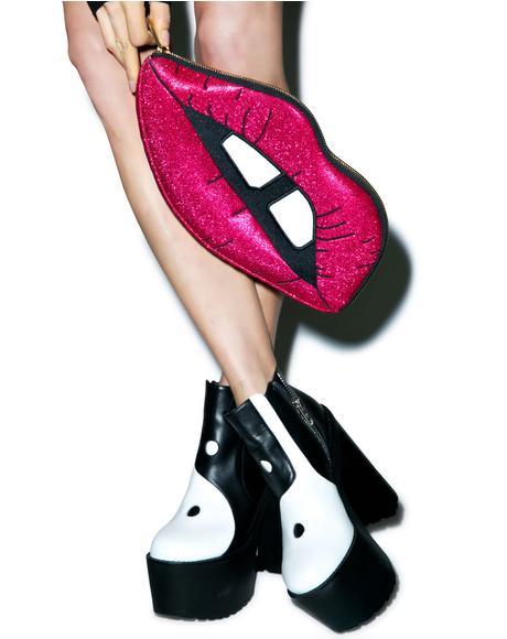 Pink Glitter Lips Clutch