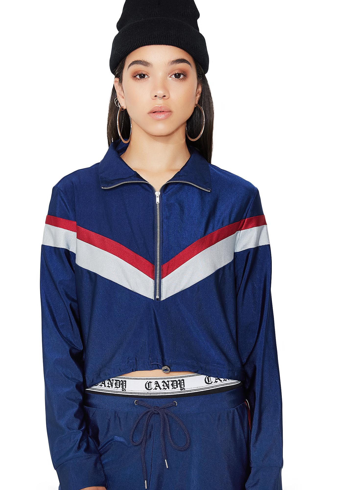 She's Got Game Striped Track Pullover