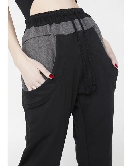 Danger Ahead Two-Tone Sweatpants