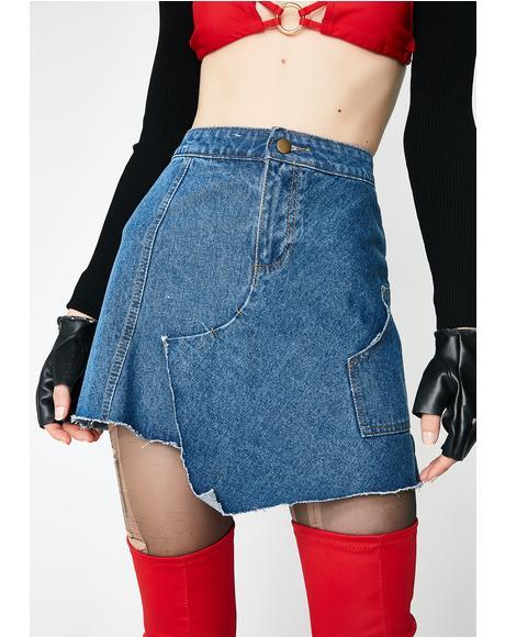 Rewerked Denim Mini Skirt