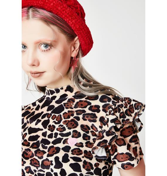 Lazy Oaf Leopard Print Velour Tee