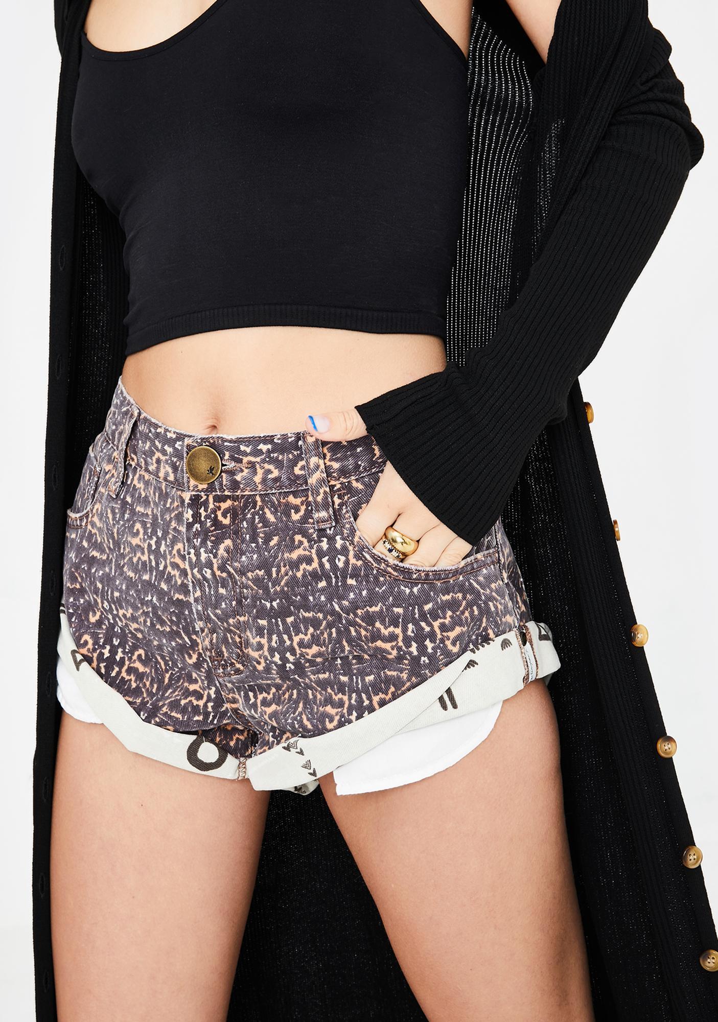 One Teaspoon Azteca Leopard Bandit Denim Shorts