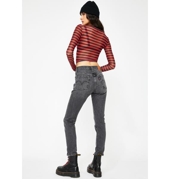 Levis Coal Black 501 Skinny Jeans