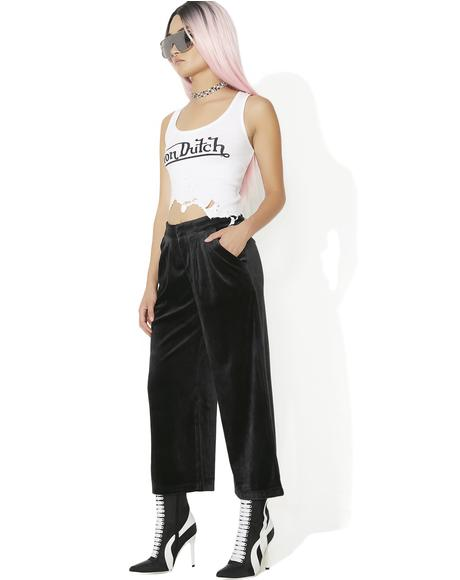 Sporty Velour Wide Leg Trousers