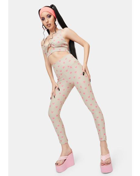 Taupe Heart Ayla Printed Leggings