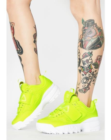 Green Disruptor II Applique Sneakers