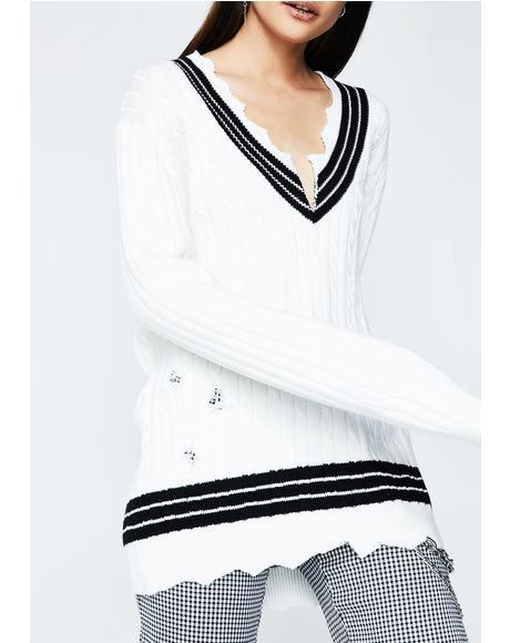V Neck Distressed Sweater