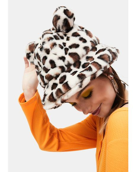 Animal Lover Leopard Faux Fur Bucket Hat