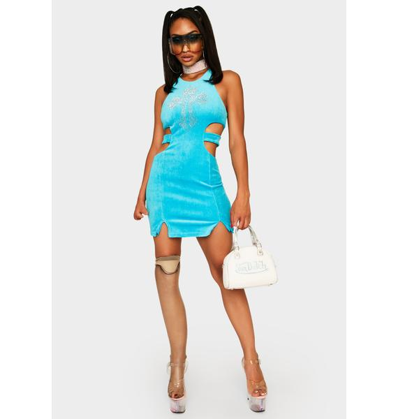 Wet Juicy Jewels Velour Mini Dress