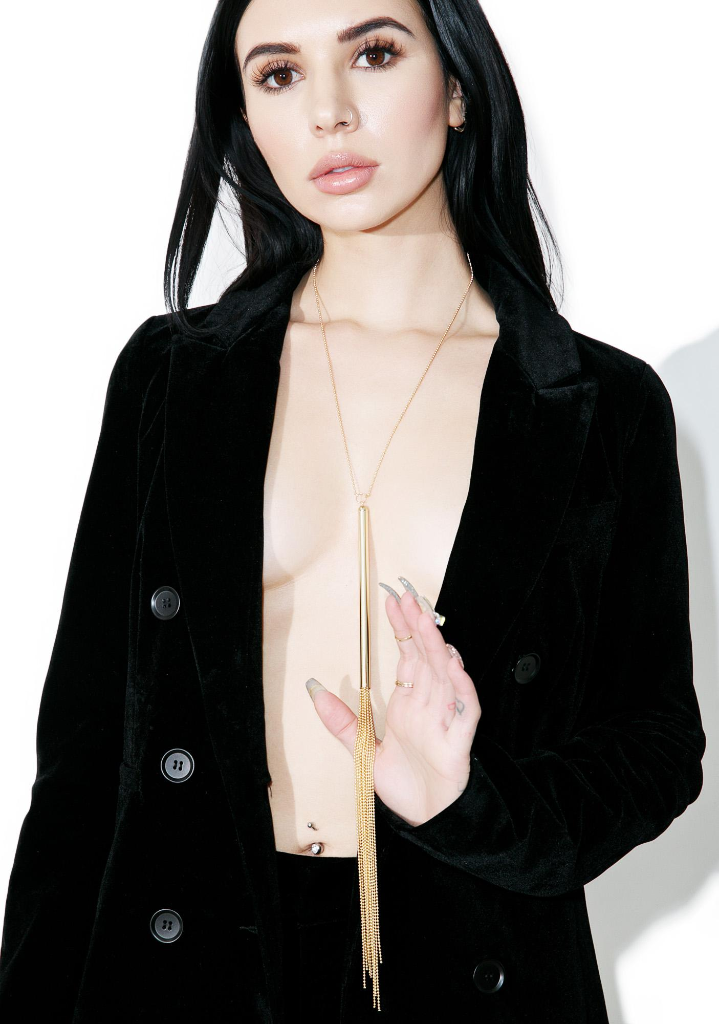 BIJOUX INDISCRETS Gold Metallic Chain Whip Necklace