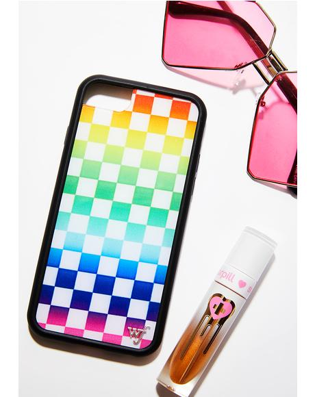 Rainbow Checkers iPhone Case
