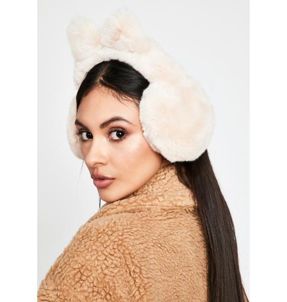 Snow Kitty Fuzzy Earmuffs