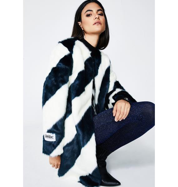 Jakke Teal Stripe Chloe Coat