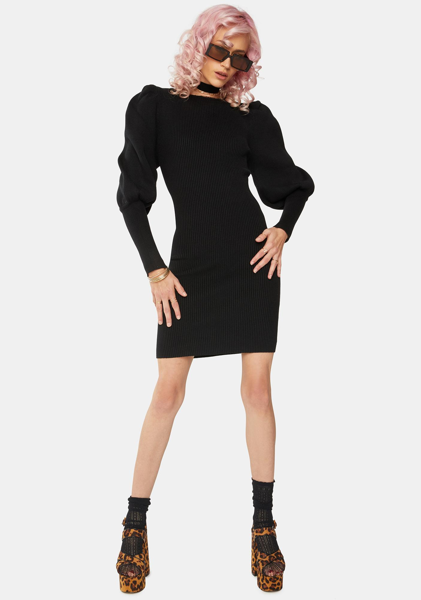 Glamorous Black Puff Sleeve Low Back Dress