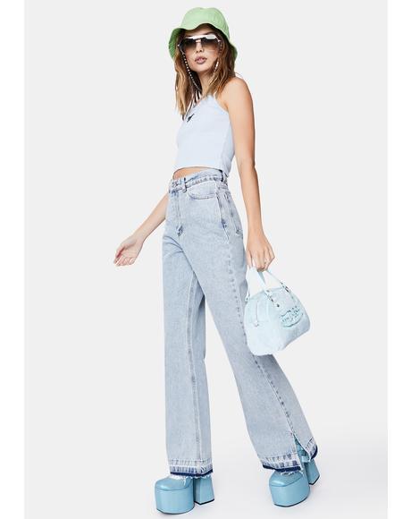 Acid Blue 70s Flare Jeans
