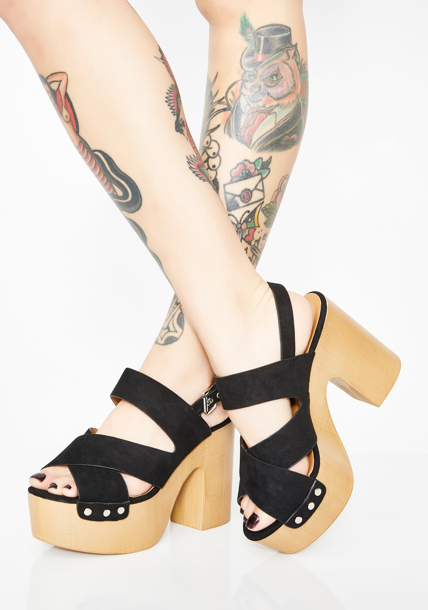6772988800 Wood Bottom Platform Peep Toe Sandals | Dolls Kill