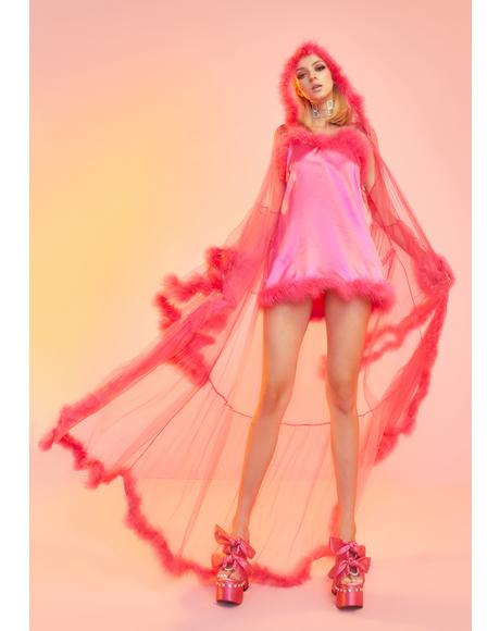 Rose Pixie Luxxx Feathered Robe