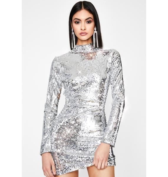 Mercury Hologram Star Sequin Dress