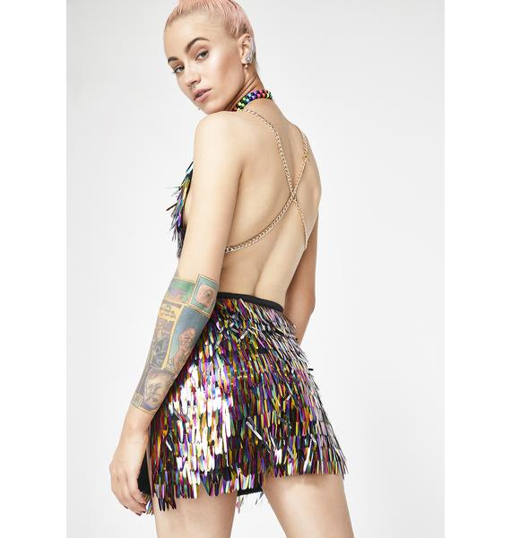 Jaded London Rainbow Sequin Spike Mini Skirt