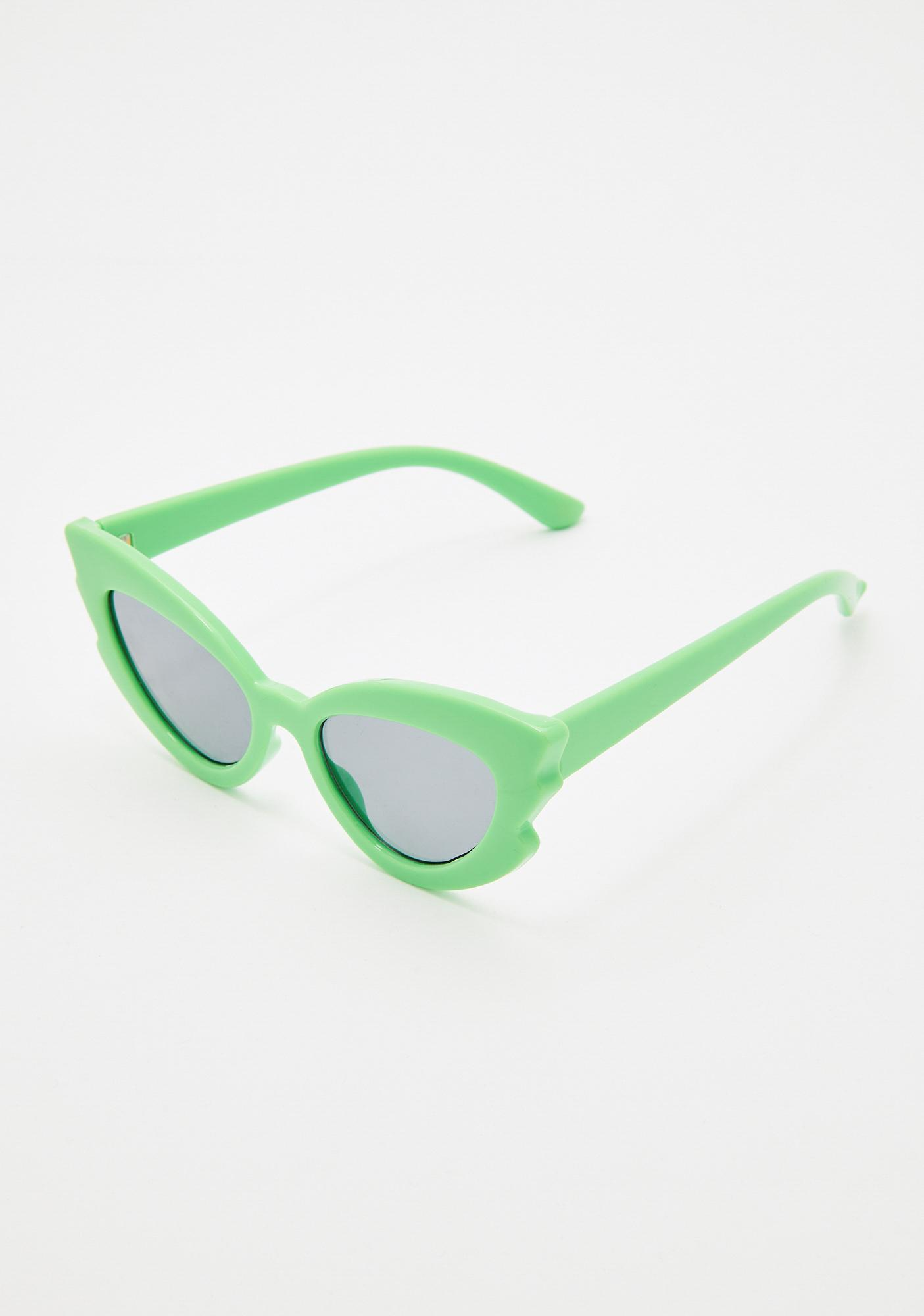 f70ce1c3a Neon Green Cat-Eye Sunglasses
