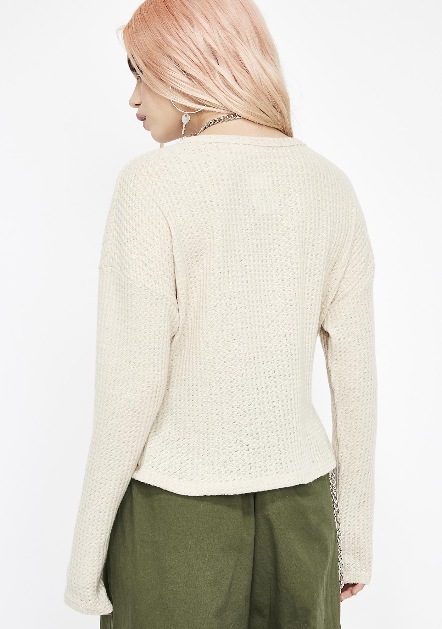Natural Baddie Logic Knit Top