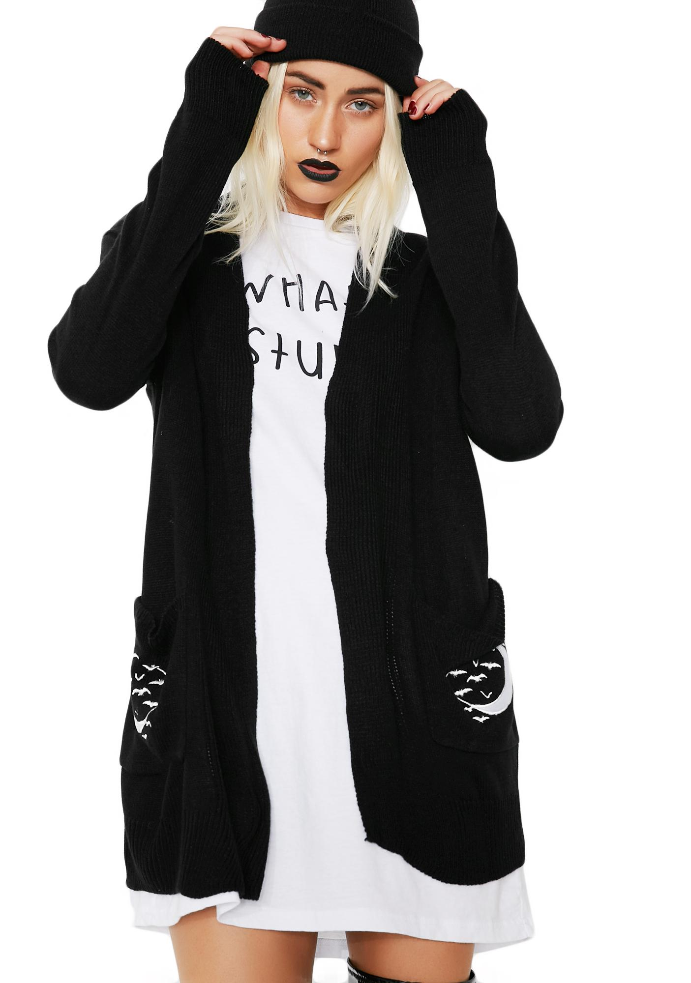 Too Fast Skeleton Hand In The Moon & Graveyard Long Cardigan