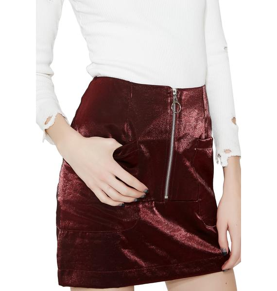 Wine Black Noise Mini Skirt