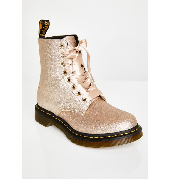 Dr. Martens 1460 Pascal Pale Gold Glitter Boots