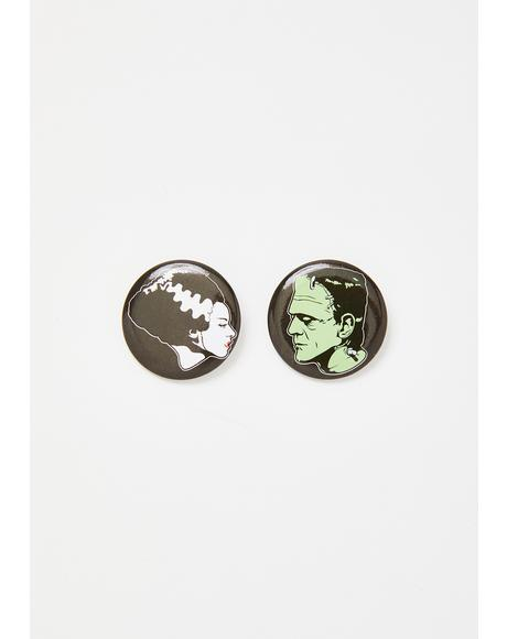 Bride & Frankenstein Button Set