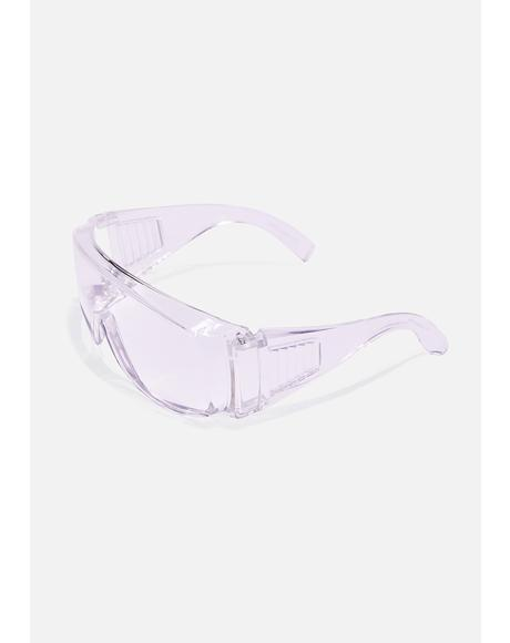 Clear Oversized Shield Sunglasses