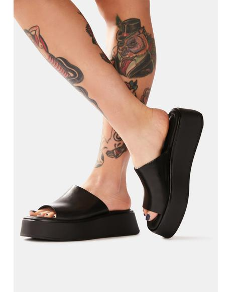Courtney Leather Platform Slides