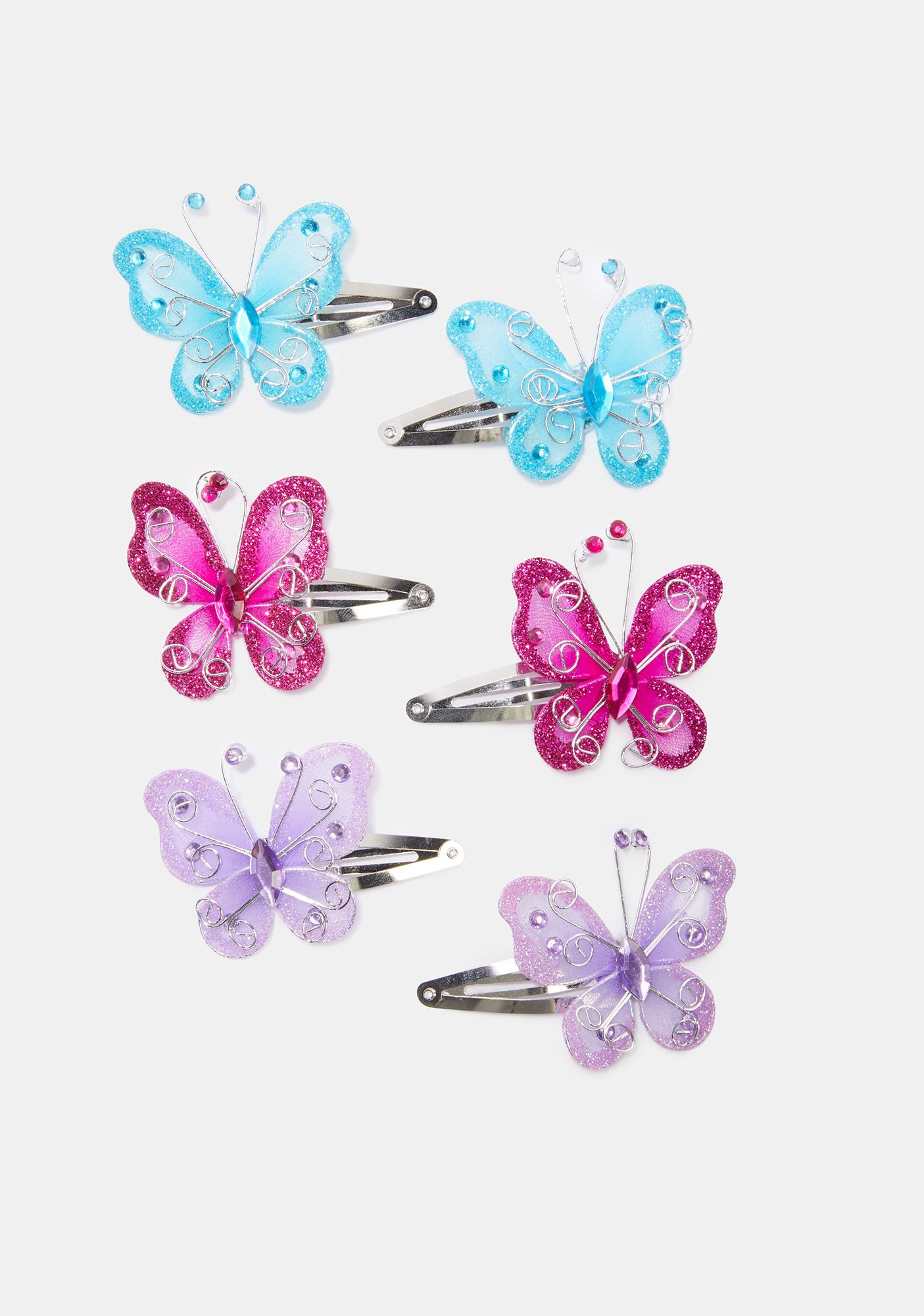 Flutter On Butterfly Hair Clips