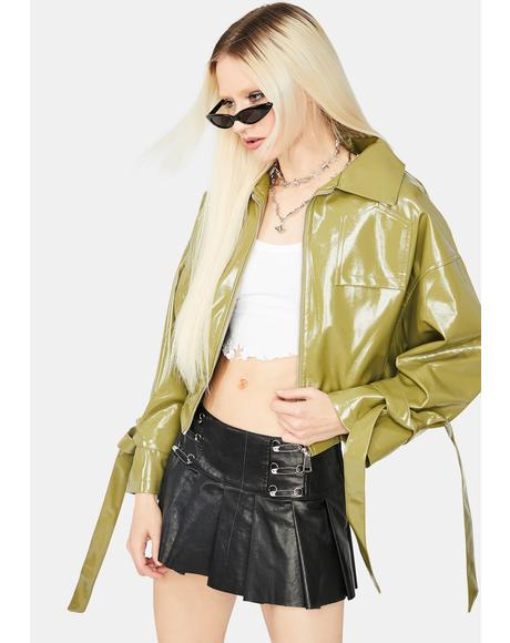 Olive Untamed Love Vegan Leather Bomber Jacket